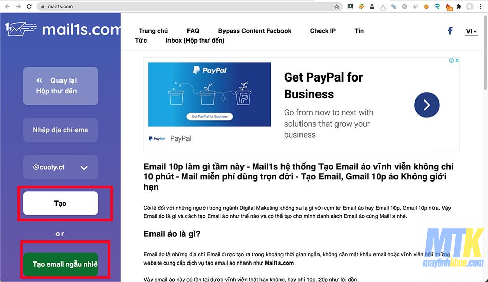 Giao diện tạo email ảo
